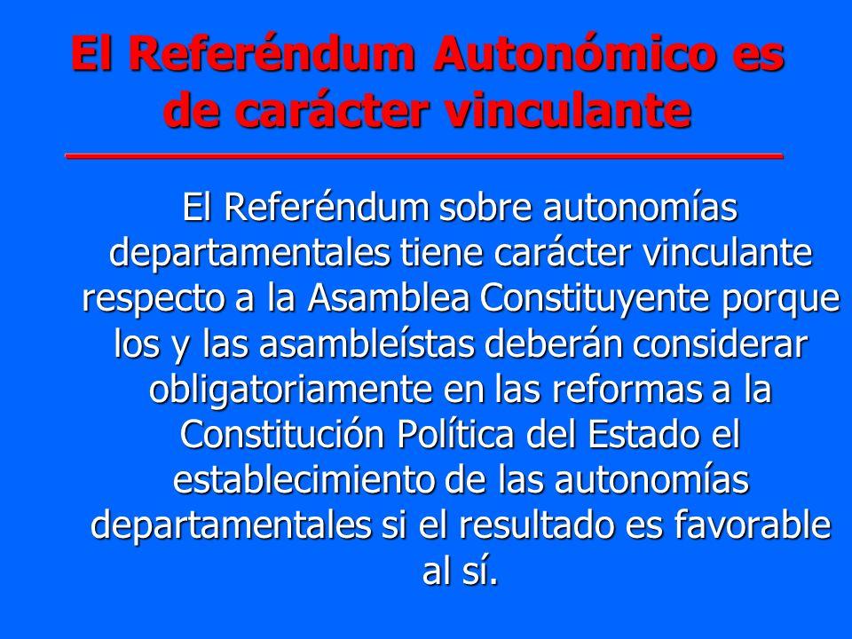 El Referéndum sobre autonomías departamentales tiene carácter vinculante respecto a la Asamblea Constituyente porque los y las asambleístas deberán co