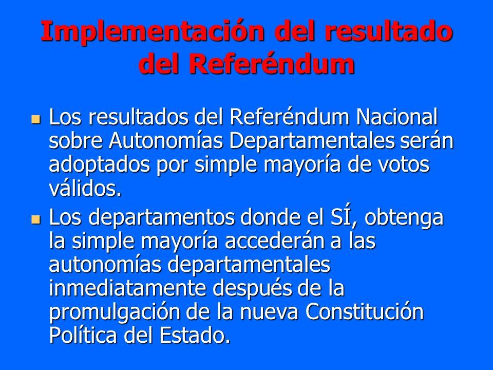Implementación del resultado del Referéndum Los resultados del Referéndum Nacional sobre Autonomías Departamentales serán adoptados por simple mayoría