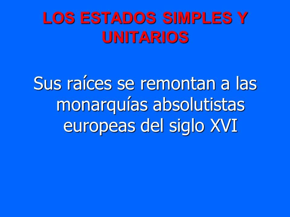 LOS ESTADOS SIMPLES Y UNITARIOS Sus raíces se remontan a las monarquías absolutistas europeas del siglo XVI