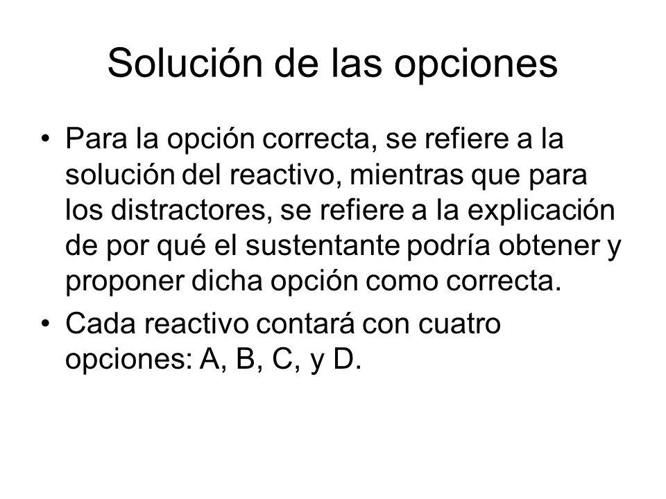 Solución de las opciones Para la opción correcta, se refiere a la solución del reactivo, mientras que para los distractores, se refiere a la explicaci