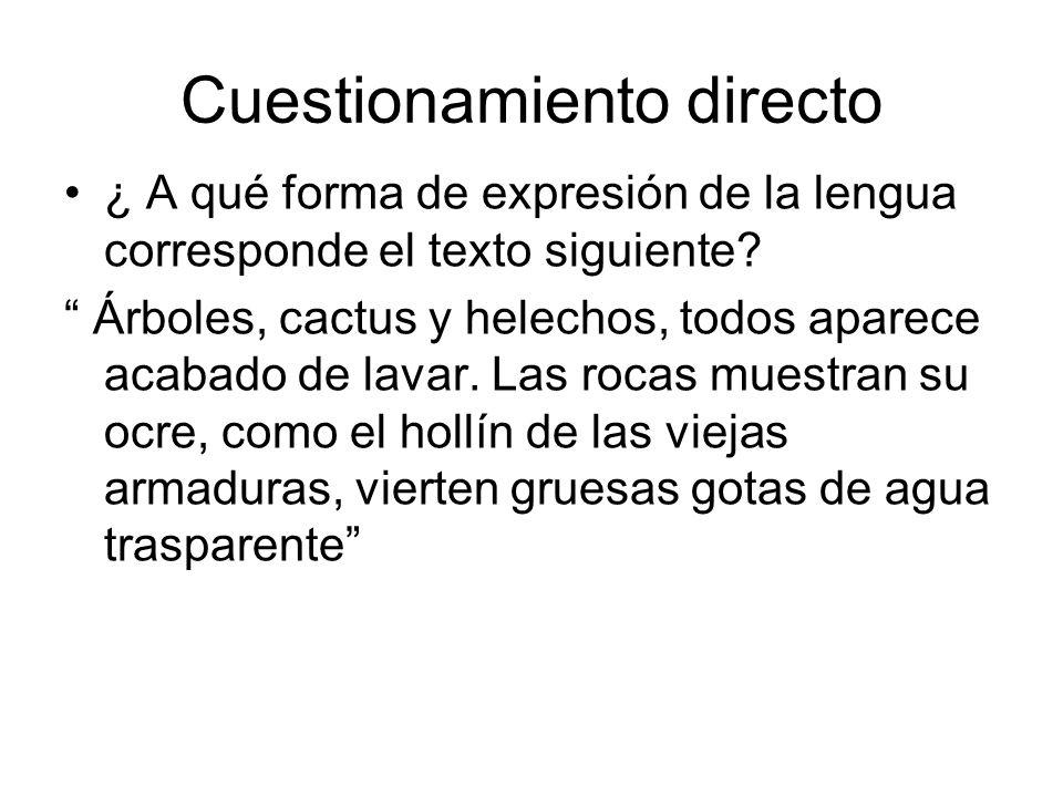 Cuestionamiento directo ¿ A qué forma de expresión de la lengua corresponde el texto siguiente? Árboles, cactus y helechos, todos aparece acabado de l