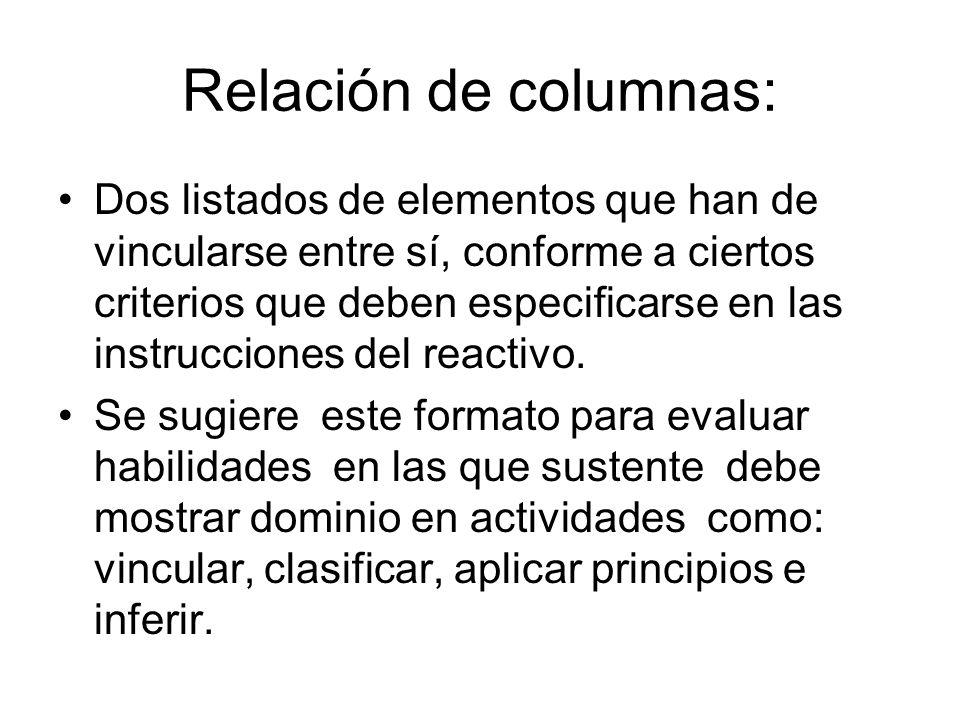 Relación de columnas: Dos listados de elementos que han de vincularse entre sí, conforme a ciertos criterios que deben especificarse en las instruccio