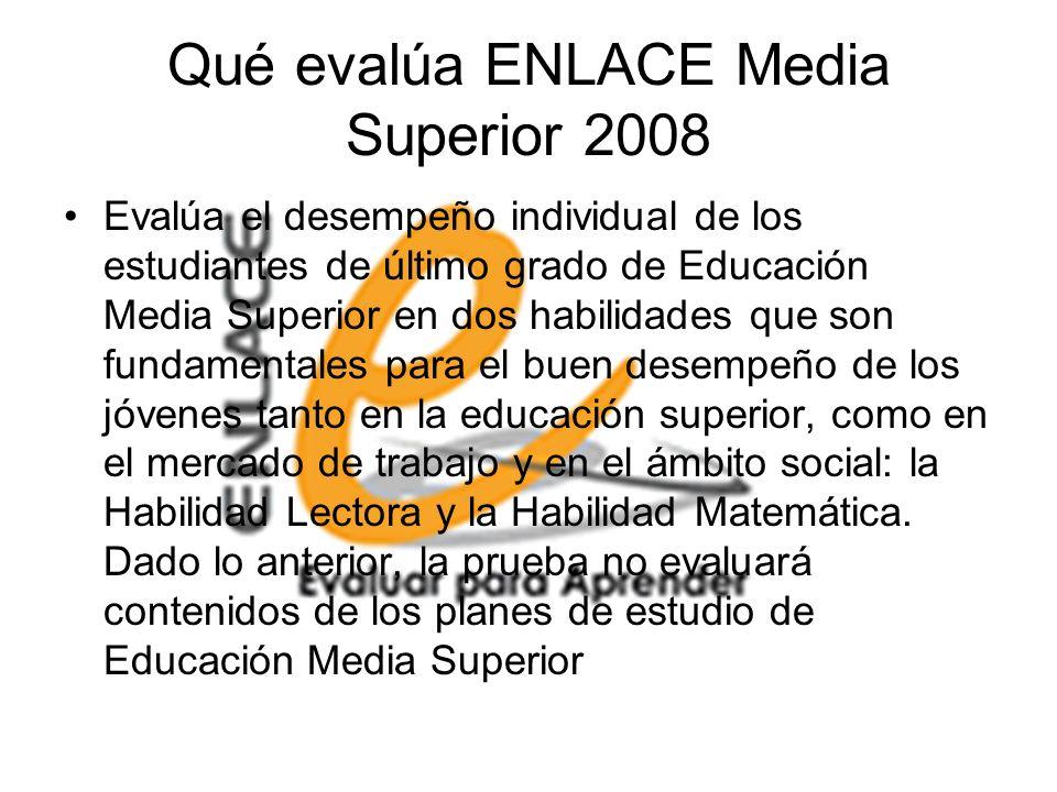 Qué evalúa ENLACE Media Superior 2008 Evalúa el desempeño individual de los estudiantes de último grado de Educación Media Superior en dos habilidades