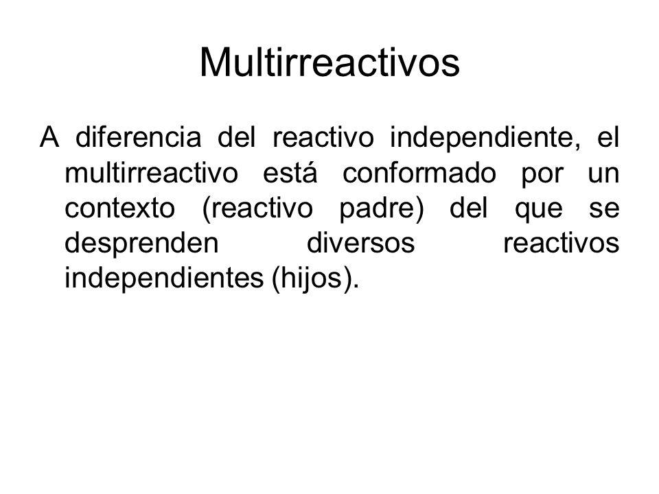 Multirreactivos A diferencia del reactivo independiente, el multirreactivo está conformado por un contexto (reactivo padre) del que se desprenden dive
