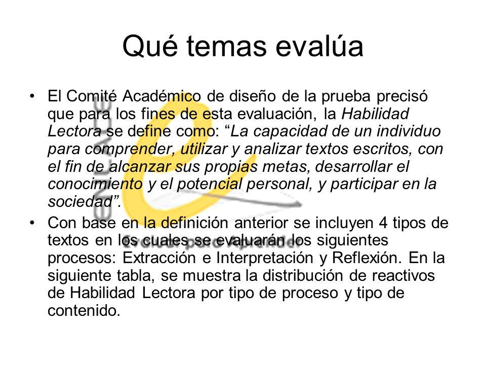 Qué temas evalúa El Comité Académico de diseño de la prueba precisó que para los fines de esta evaluación, la Habilidad Lectora se define como: La cap