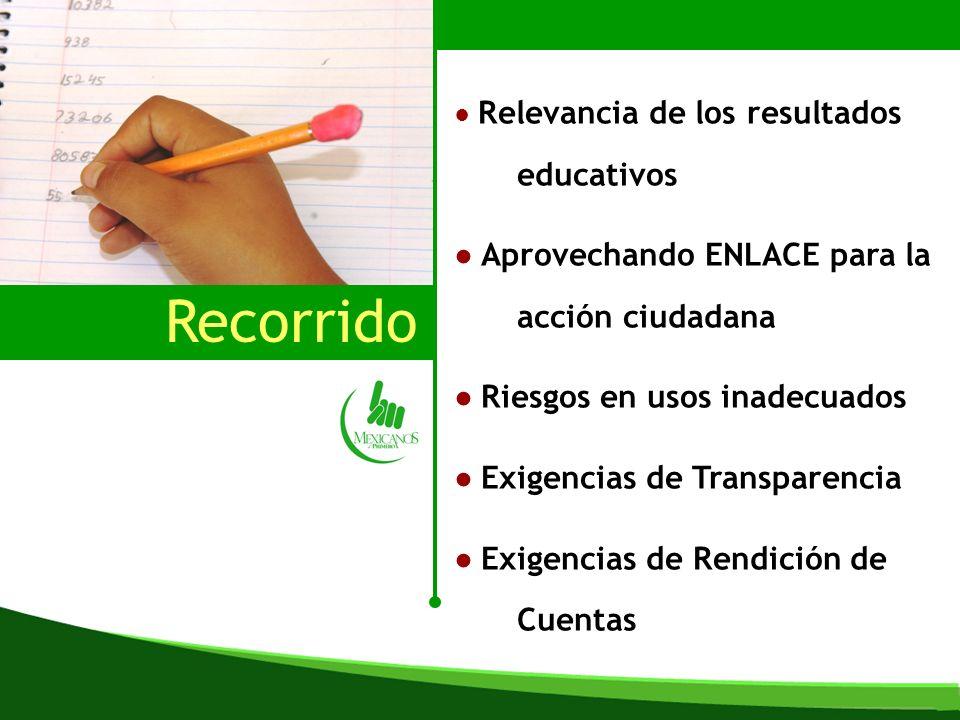 Recorrido Relevancia de los resultados educativos Aprovechando ENLACE para la acción ciudadana Riesgos en usos inadecuados Exigencias de Transparencia Exigencias de Rendición de Cuentas