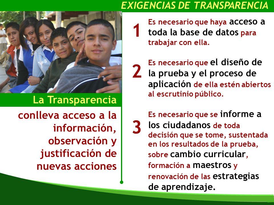 La Transparencia conlleva acceso a la información, observación y justificación de nuevas acciones Es necesario que haya acceso a toda la base de datos para trabajar con ella.