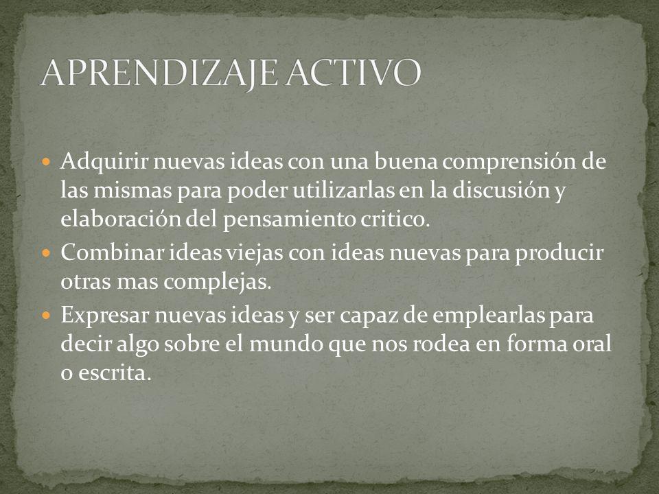 Adquirir nuevas ideas con una buena comprensión de las mismas para poder utilizarlas en la discusión y elaboración del pensamiento critico. Combinar i