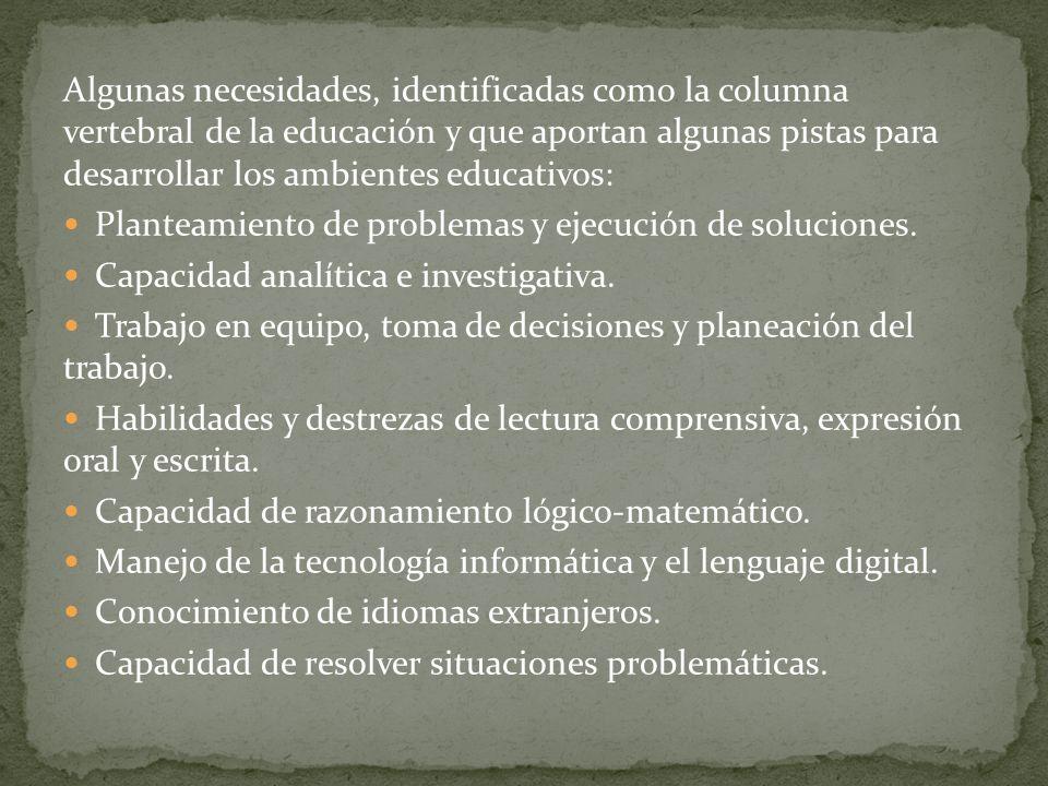 Algunas necesidades, identificadas como la columna vertebral de la educación y que aportan algunas pistas para desarrollar los ambientes educativos: P