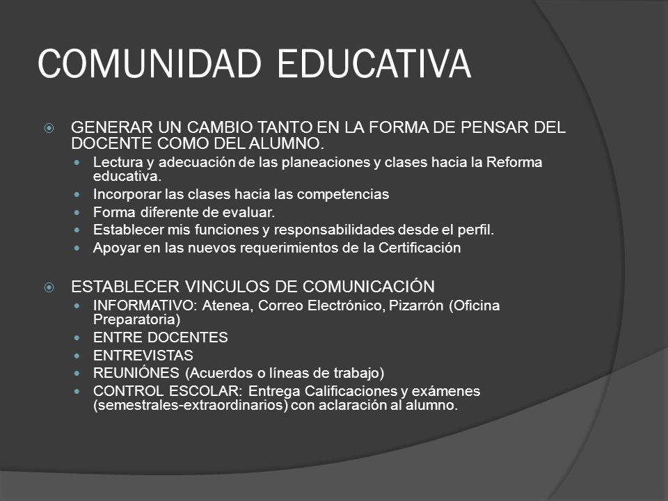 COMUNIDAD EDUCATIVA GENERAR UN CAMBIO TANTO EN LA FORMA DE PENSAR DEL DOCENTE COMO DEL ALUMNO. Lectura y adecuación de las planeaciones y clases hacia