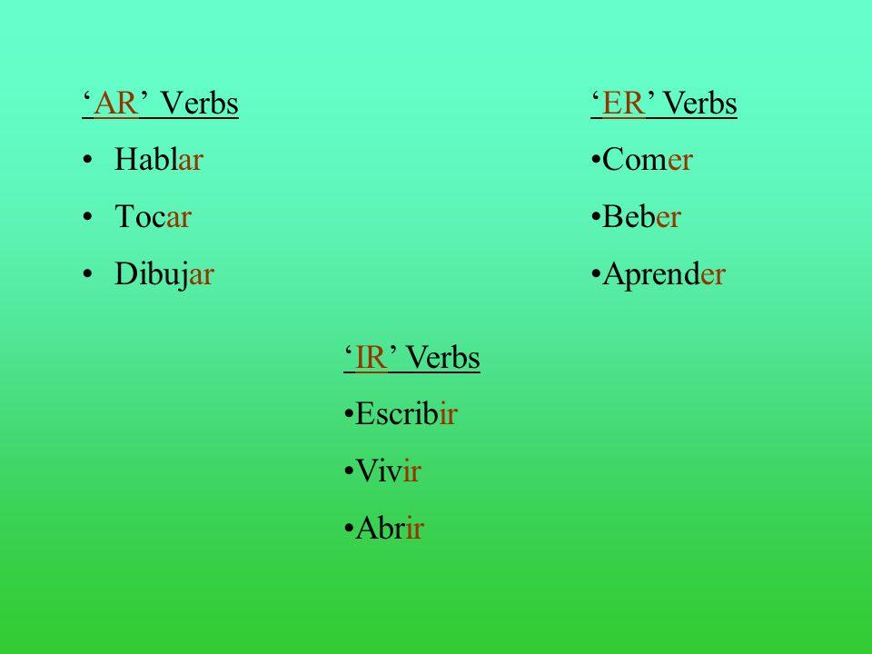 AR Verbs Hablar Tocar Dibujar ER Verbs Comer Beber Aprender IR Verbs Escribir Vivir Abrir