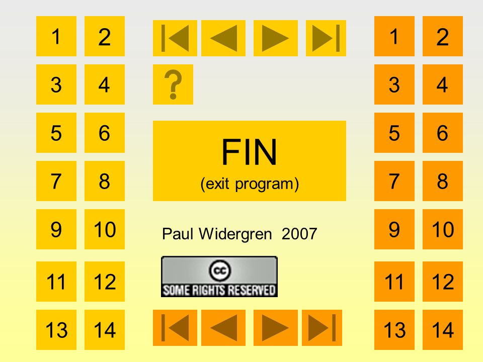 FIN (exit program) 1 3 2 4 5 7 6 8 910 1112 1314 Paul Widergren 2007 1 3 2 4 5 7 6 8 910 1112 1314