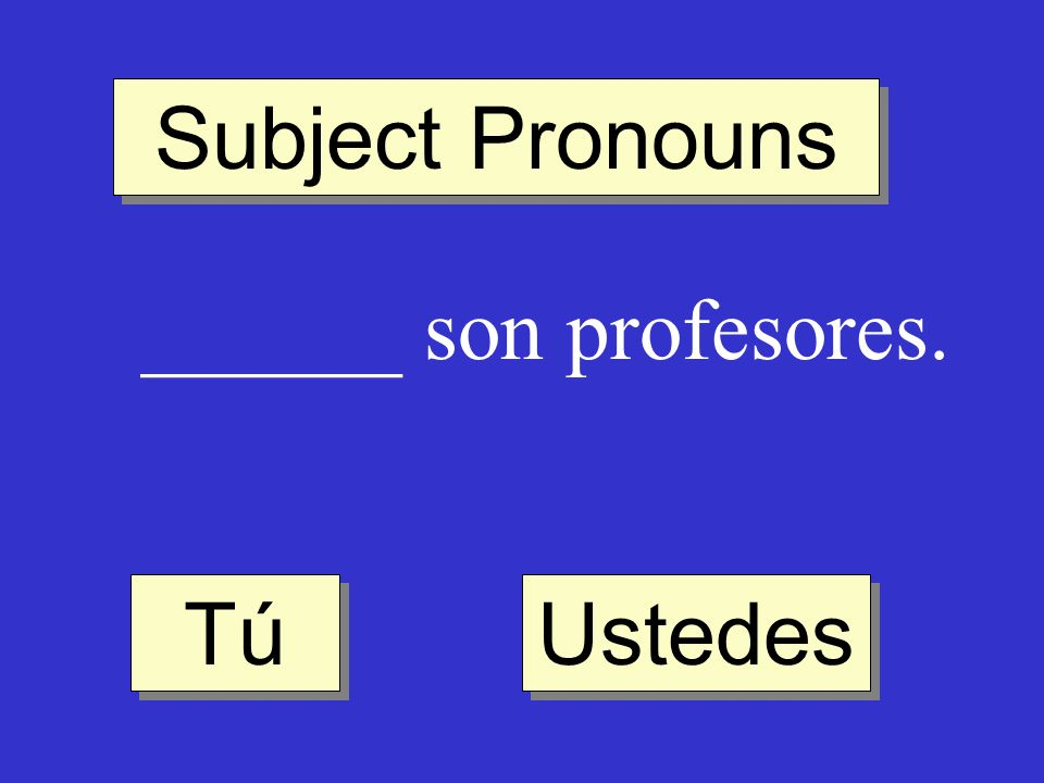 Subject Pronouns ______ son profesores. Ustedes Tú