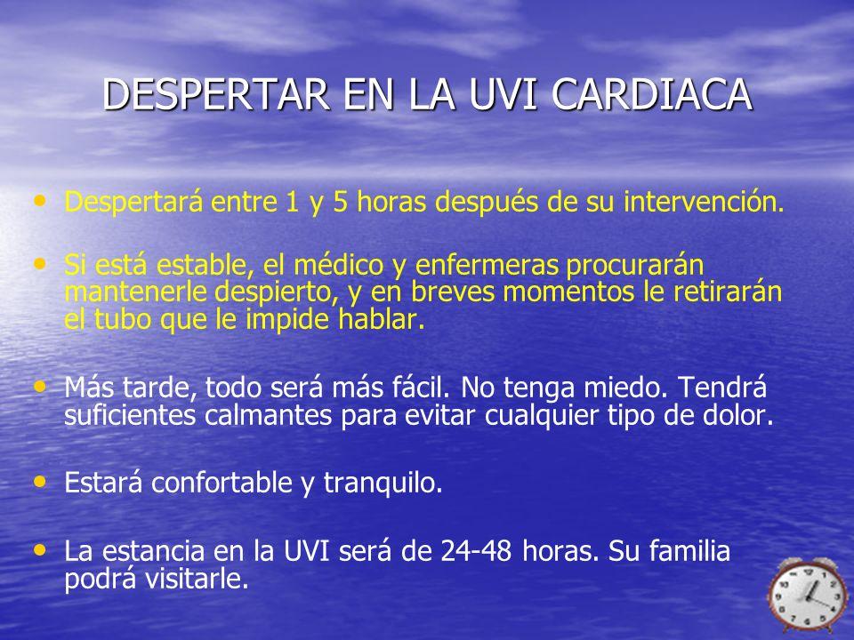 DESPERTAR EN LA UVI CARDIACA Despertará entre 1 y 5 horas después de su intervención. Si está estable, el médico y enfermeras procurarán mantenerle de