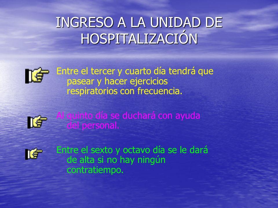 INGRESO A LA UNIDAD DE HOSPITALIZACIÓN Entre el tercer y cuarto día tendrá que pasear y hacer ejercicios respiratorios con frecuencia. Al quinto día s