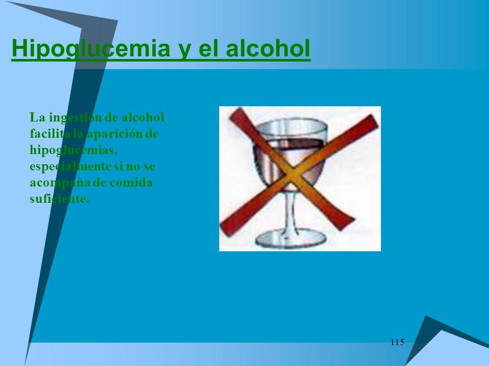 115 Hipoglucemia y el alcohol La ingestión de alcohol facilita la aparición de hipoglucemias, especialmente si no se acompaña de comida suficiente.