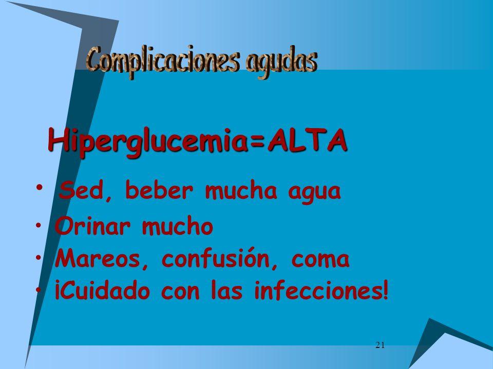 21 Hiperglucemia=ALTA Sed, beber mucha agua Orinar mucho Mareos, confusión, coma ¡Cuidado con las infecciones!