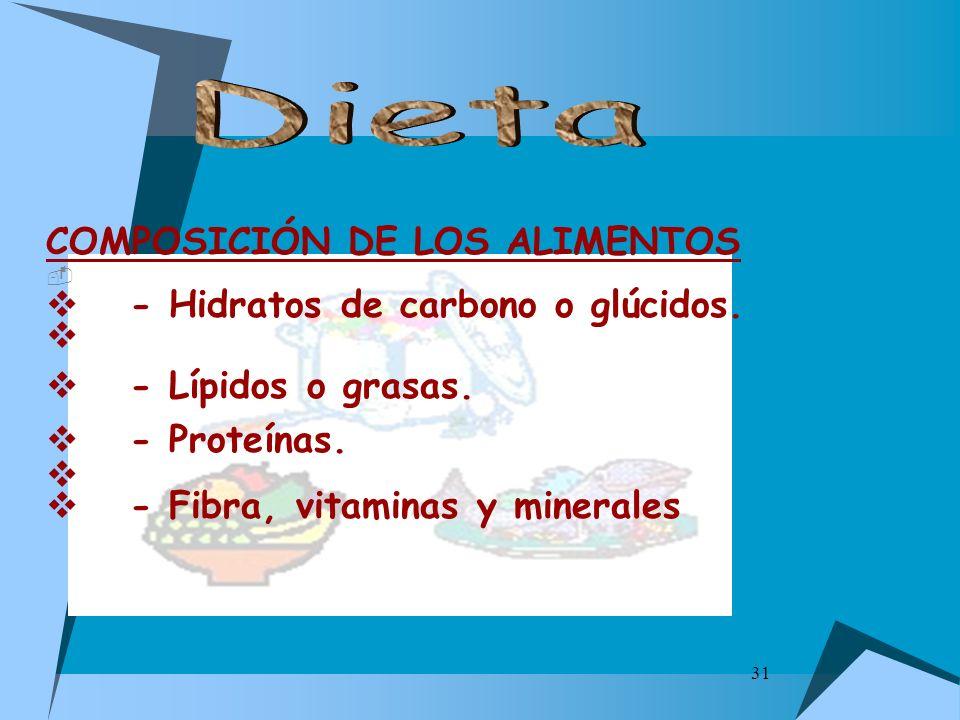 31 COMPOSICIÓN DE LOS ALIMENTOS - Hidratos de carbono o glúcidos. - Lípidos o grasas. - Proteínas. - Fibra, vitaminas y minerales