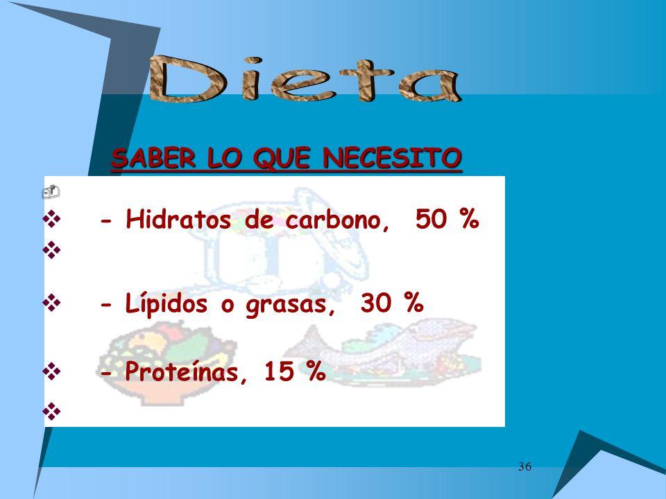 36 SABER LO QUE NECESITO - Hidratos de carbono, 50 % - Lípidos o grasas, 30 % - Proteínas, 15 %