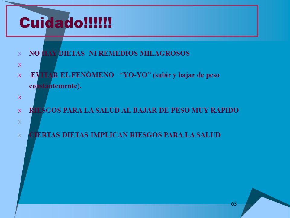 63 Cuidado!!!!!! X NO HAY DIETAS NI REMEDIOS MILAGROSOS X X EVITAR EL FENÓMENO YO-YO (subir y bajar de peso constantemente). X X RIESGOS PARA LA SALUD