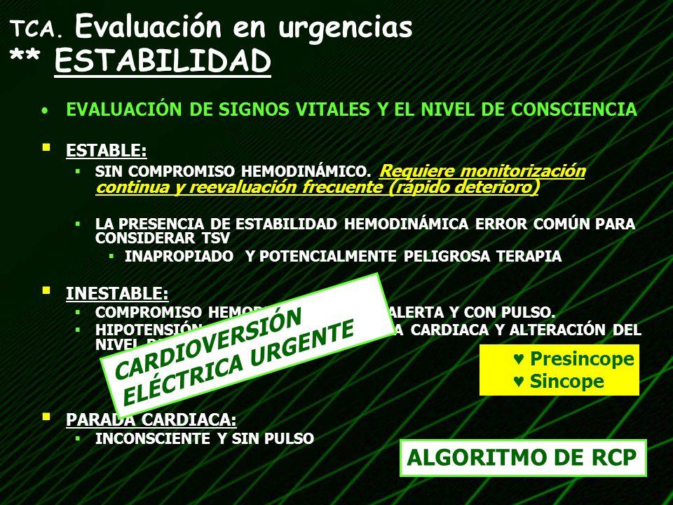 EVALUACIÓN DE SIGNOS VITALES Y EL NIVEL DE CONSCIENCIA ESTABLE: SIN COMPROMISO HEMODINÁMICO. Requiere monitorización continua y reevaluación frecuente