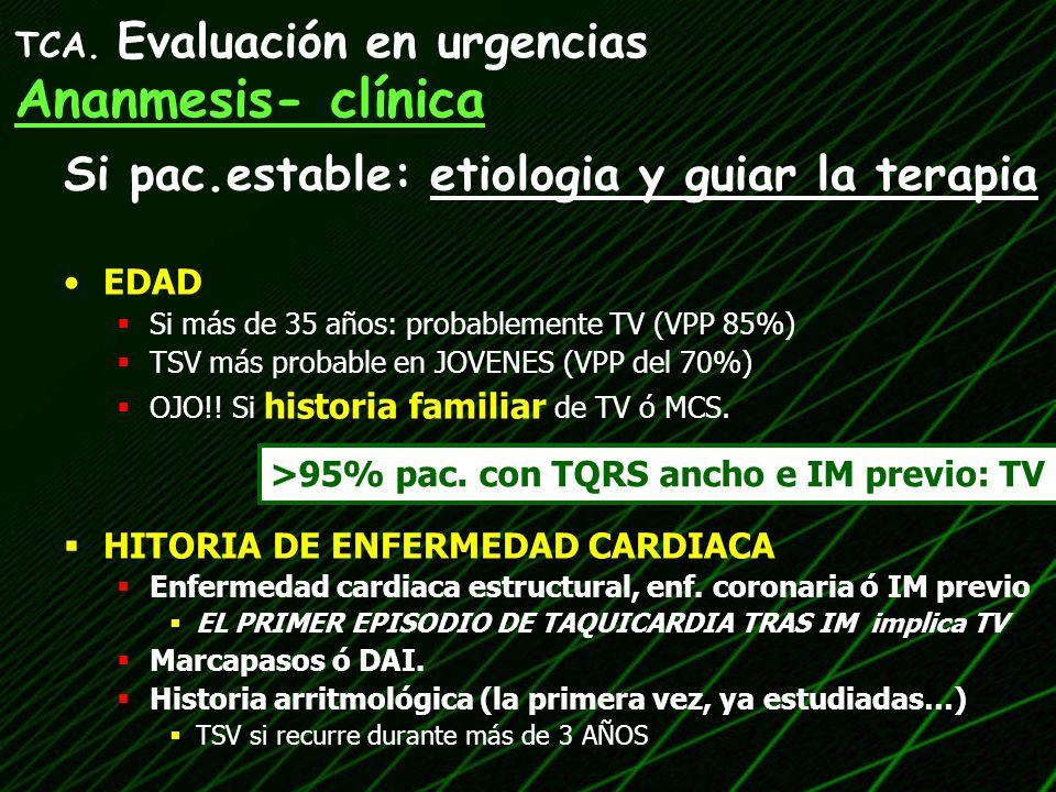 Si pac.estable: etiologia y guiar la terapia EDAD Si más de 35 años: probablemente TV (VPP 85%) TSV más probable en JOVENES (VPP del 70%) OJO!! Si his