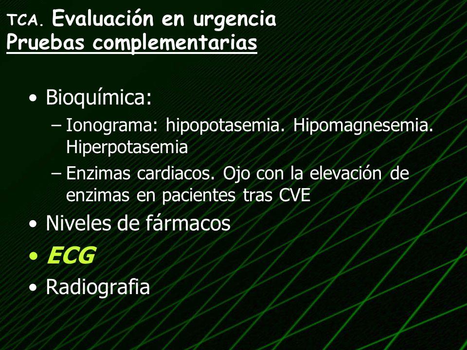 Bioquímica: –Ionograma: hipopotasemia. Hipomagnesemia. Hiperpotasemia –Enzimas cardiacos. Ojo con la elevación de enzimas en pacientes tras CVE Nivele