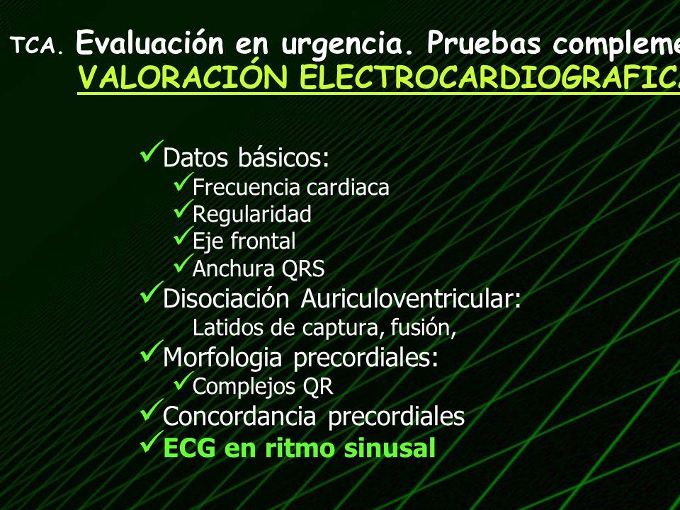 Datos básicos: Frecuencia cardiaca Regularidad Eje frontal Anchura QRS Disociación Auriculoventricular: Latidos de captura, fusión, Morfologia precord