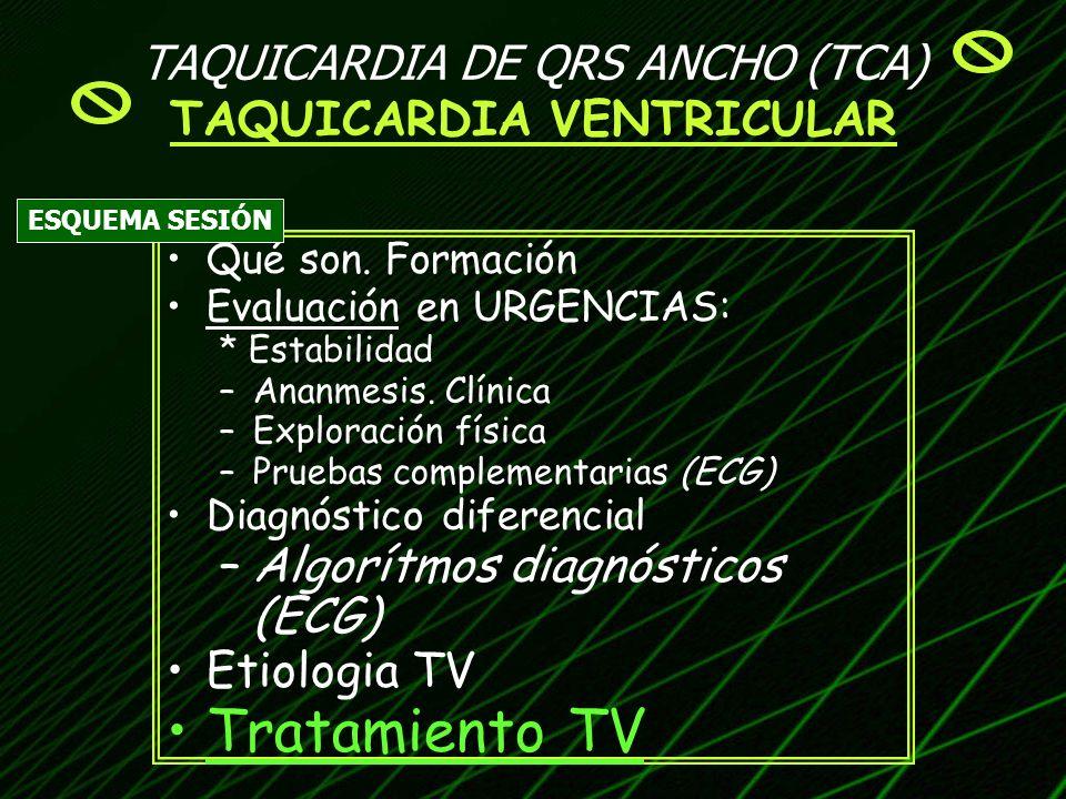 TAQUICARDIA DE QRS ANCHO (TCA) TAQUICARDIA VENTRICULAR Qué son. Formación Evaluación en URGENCIAS: * Estabilidad –Ananmesis. Clínica –Exploración físi