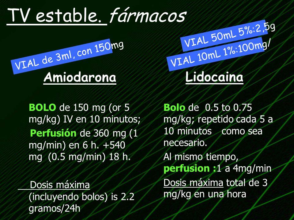 Amiodarona BOLO de 150 mg (or 5 mg/kg) IV en 10 minutos; Perfusión de 360 mg (1 mg/min) en 6 h. +540 mg (0.5 mg/min) 18 h. Dosis máxima (incluyendo bo