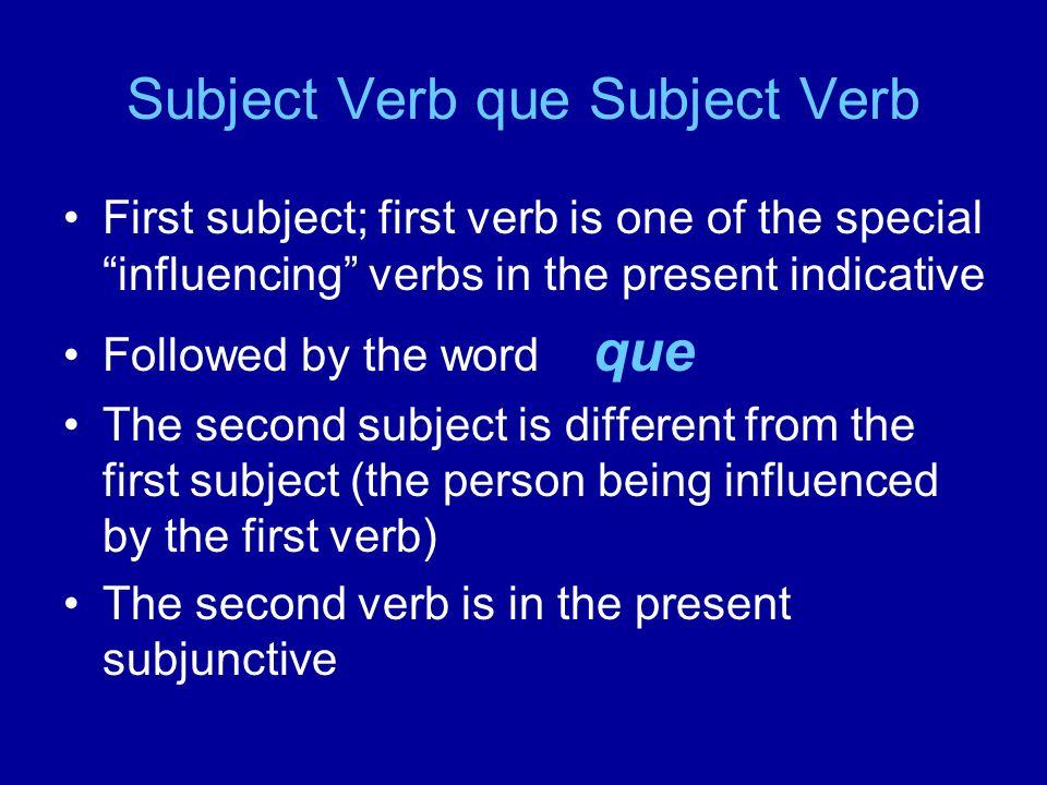 Los verbos especiales que causan cause el subjuntivo Querer Desear Esperar Preferir Pedir Insistir en Necesitar Ojalá **** que