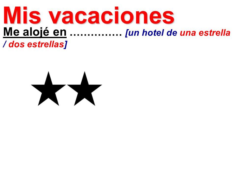 Me alojé en …………… [un hotel de una estrella / dos estrellas] Mis vacaciones
