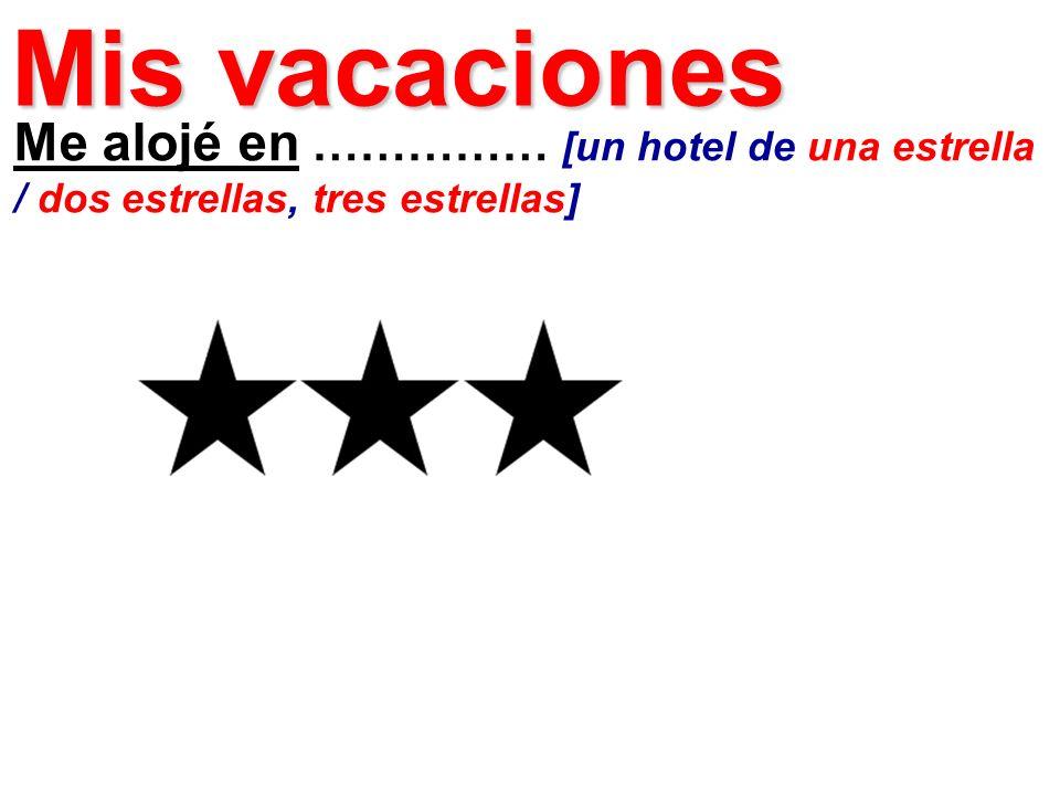 Me alojé en …………… [un hotel de una estrella / dos estrellas, tres estrellas] Mis vacaciones