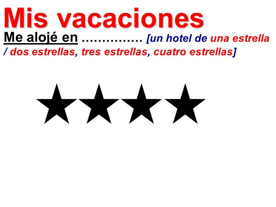Me alojé en …………… [un hotel de una estrella / dos estrellas, tres estrellas, cuatro estrellas] Mis vacaciones