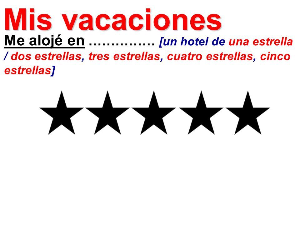 Me alojé en …………… [un hotel de una estrella / dos estrellas, tres estrellas, cuatro estrellas, cinco estrellas] Mis vacaciones