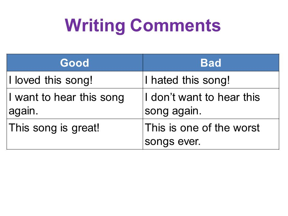 Writing Comments GoodBad I loved this song!I hated this song.