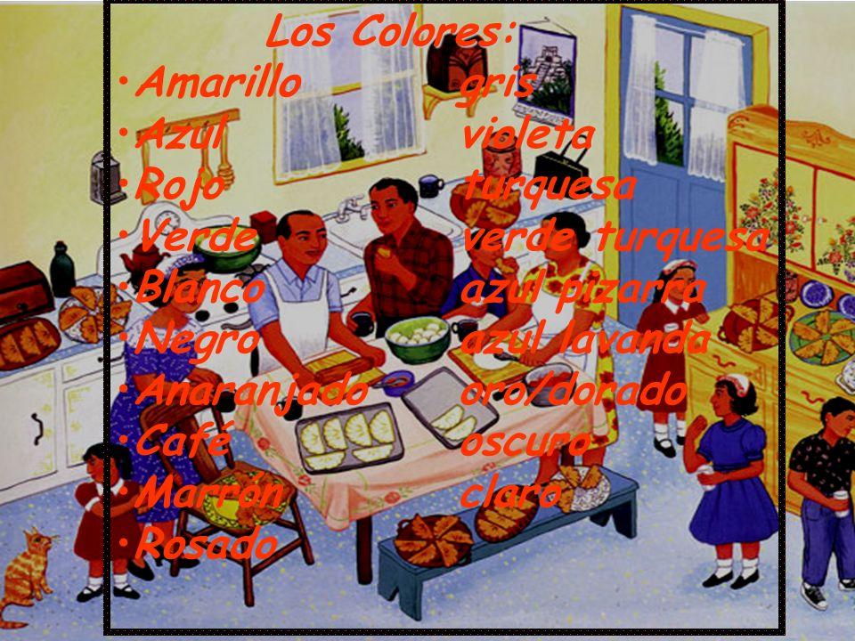 Los Colores: Amarillogris Azulvioleta Rojoturquesa Verdeverde turquesa Blancoazul pizarra Negroazul lavanda Anaranjadooro/dorado Caféoscuro Marrónclar