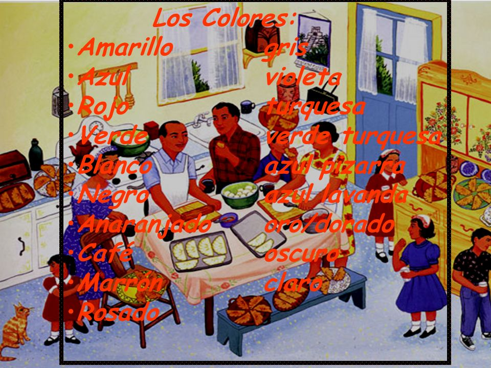 Amaranthine: amaranthine/deep purple-red Amarillo claro: primrose/pale yellow Añil: indigo/deep blue-violet Azafrán: saffron/orange-yellow Azul celeste: azure/light or sky blue Azul marino: navy blue Azul turquesa: turquoise/blue-green Azul de ultramar: ultramarine/deep blue Azul zafiro: sapphire Bermejo: vermilion/bright red Beige: beige/light creamy white-brown Caqui: khaki/light brown/tan Cardinal: cardinal/scarlet Castaño rojizo: russet/reddish brown Cerúleo: sky-blue Granate: maroon/brownish crimson Gris pizarra: slate Leonado: tawny/brownish-yellow Magenta: magenta/reddish purple Malva: mauve/light bluish purple Marrón claro: tan/tawny brown Prieto: sable (old-fashioned word for black) Sepia: light brown Violeta: violet
