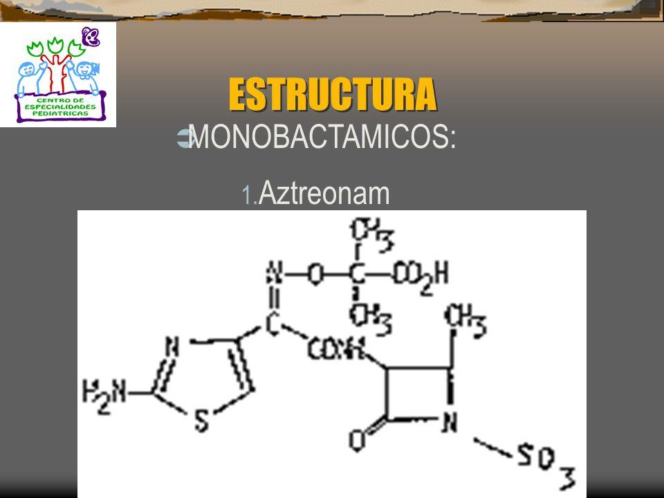 MONOBACTÁMICOS AZTREONAM: Es el único miembro de esta clase que es activo exclusivamente contra Pseudomonas aeruginosa. MECANISMO DE ACCIÓN: Se une a