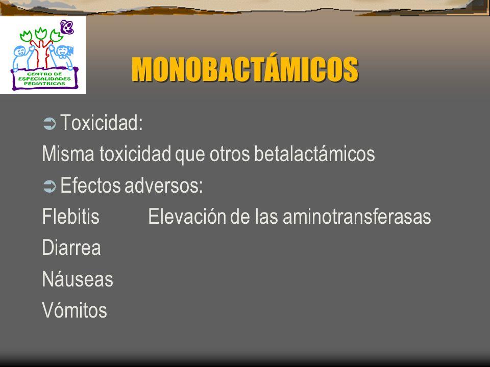 MONOBACTÁMICOS Mecanismo de resistencia: Es resistente a la hidrólisis por betalactámasas Farmacocinética: Se administra solo por vía intravenosa Vida