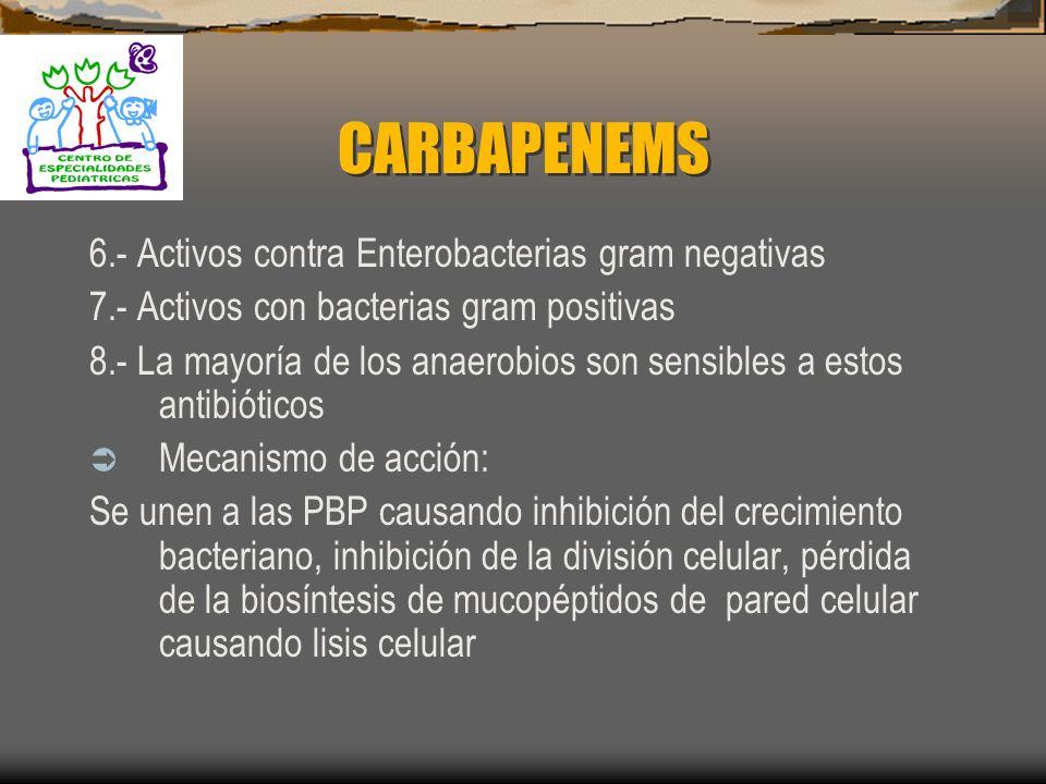 ESTRUCTURA CARBAPENEMS: 1. Imipenem + Cilastatin 2. Meropenem