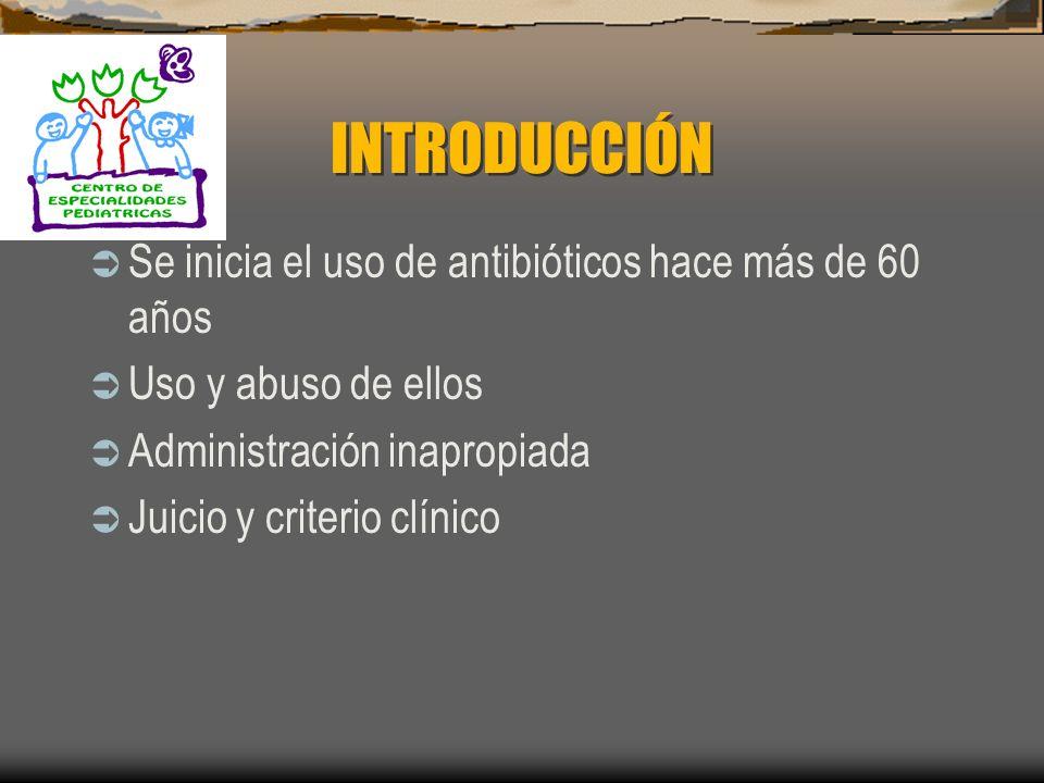 INTRODUCCIÓN Se inicia el uso de antibióticos hace más de 60 años Uso y abuso de ellos Administración inapropiada Juicio y criterio clínico