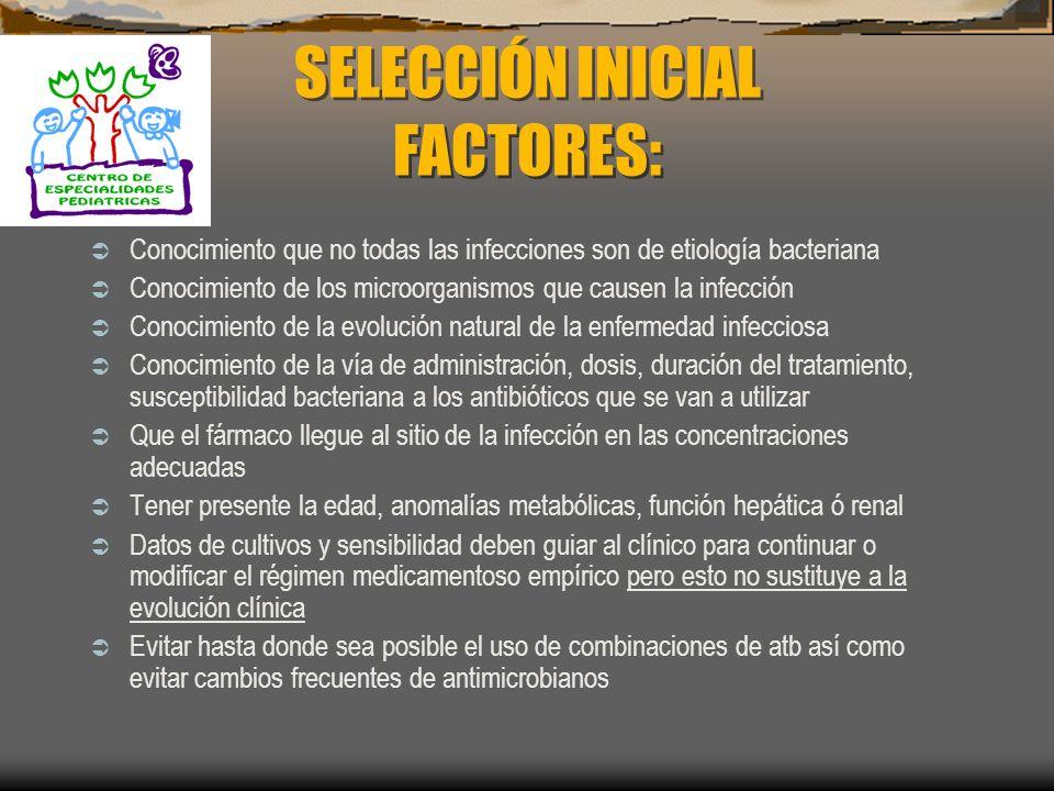 SELECCIÓN INICIAL FACTORES: Conocimiento que no todas las infecciones son de etiología bacteriana Conocimiento de los microorganismos que causen la infección Conocimiento de la evolución natural de la enfermedad infecciosa Conocimiento de la vía de administración, dosis, duración del tratamiento, susceptibilidad bacteriana a los antibióticos que se van a utilizar Que el fármaco llegue al sitio de la infección en las concentraciones adecuadas Tener presente la edad, anomalías metabólicas, función hepática ó renal Datos de cultivos y sensibilidad deben guiar al clínico para continuar o modificar el régimen medicamentoso empírico pero esto no sustituye a la evolución clínica Evitar hasta donde sea posible el uso de combinaciones de atb así como evitar cambios frecuentes de antimicrobianos