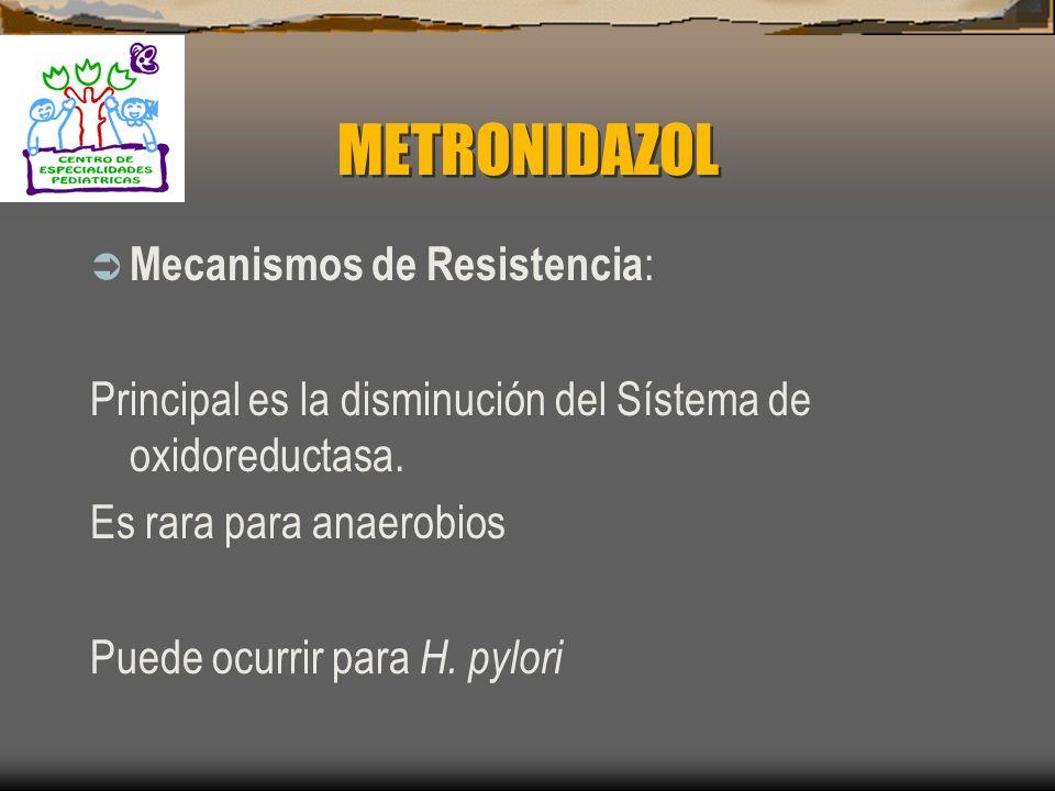 METRONIDAZOL Farmacocinética: 1. Buena absorción oral 2. Vía intravenosa se une a proteínas 1 – 20% 3. Penetra a todos los tejidos y líquidos corporal