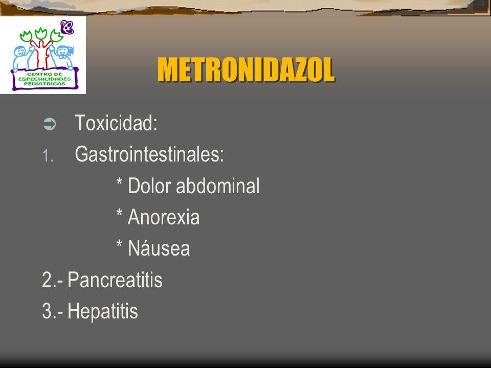 METRONIDAZOL Mecanismos de Resistencia : Principal es la disminución del Sístema de oxidoreductasa. Es rara para anaerobios Puede ocurrir para H. pylo