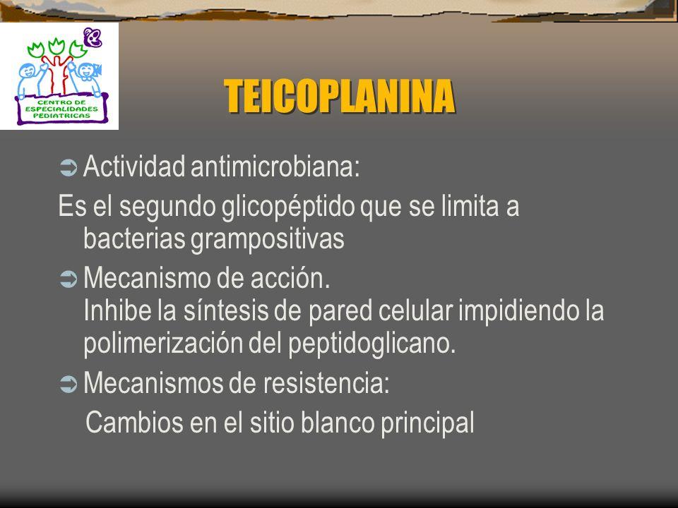 VANCOMICINA Toxicidad: 1. Ototóxica 2. Nefrotóxica: Aumento con el uso de aminoglucoósidos, diúreticos y anfotericina B 3. Síndrome del Hombre Rojo: E