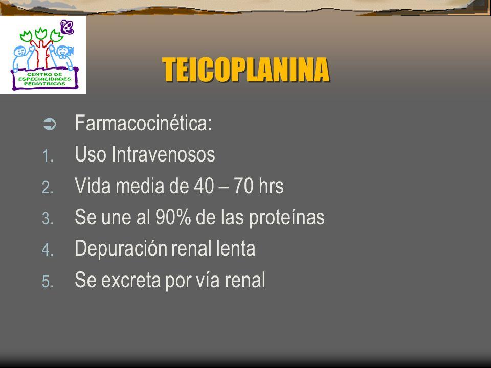 TEICOPLANINA Actividad antimicrobiana: Es el segundo glicopéptido que se limita a bacterias grampositivas Mecanismo de acción. Inhibe la síntesis de p