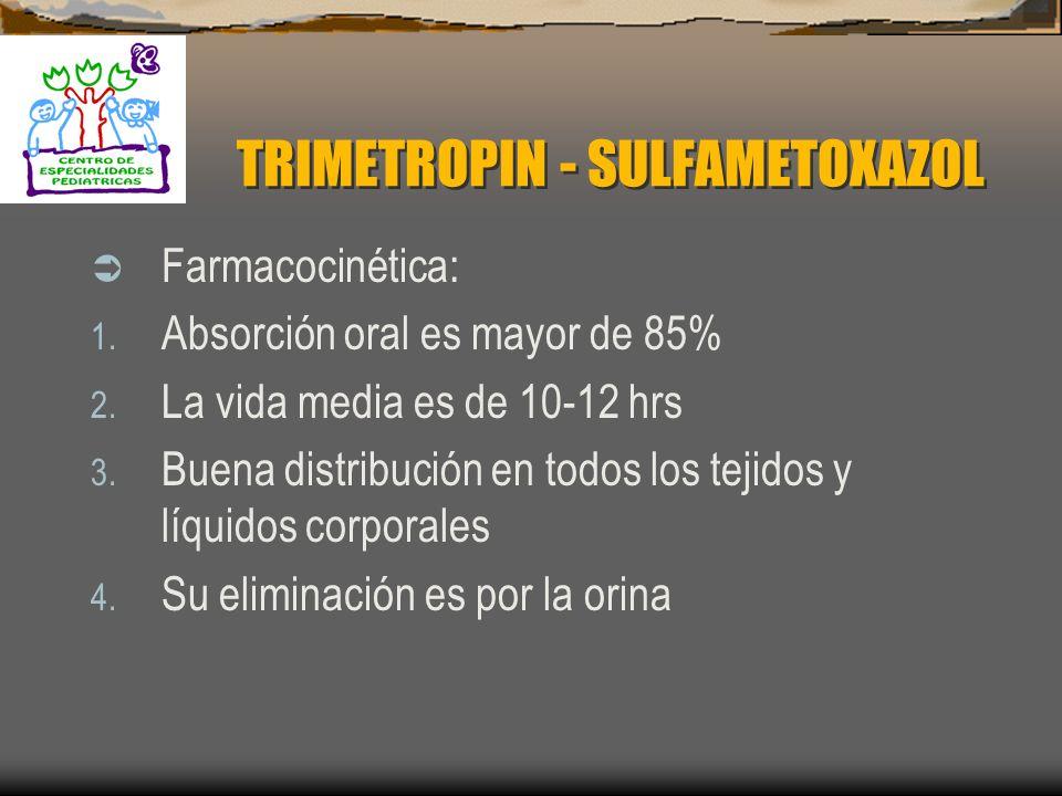 TRIMETROPIN - SULFAMETOXAZOL Mecanismo de acción: 1. SMX inhibe la síntesis de ácido dihidroptérico 2. TMP se une a la reductasa del dihidrofolato imp