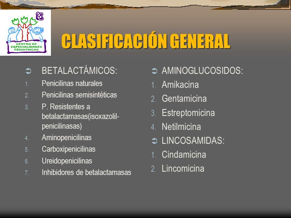 CLASIFICACIÓN GENERAL BETALACTÁMICOS: 1.Penicilinas naturales 2.
