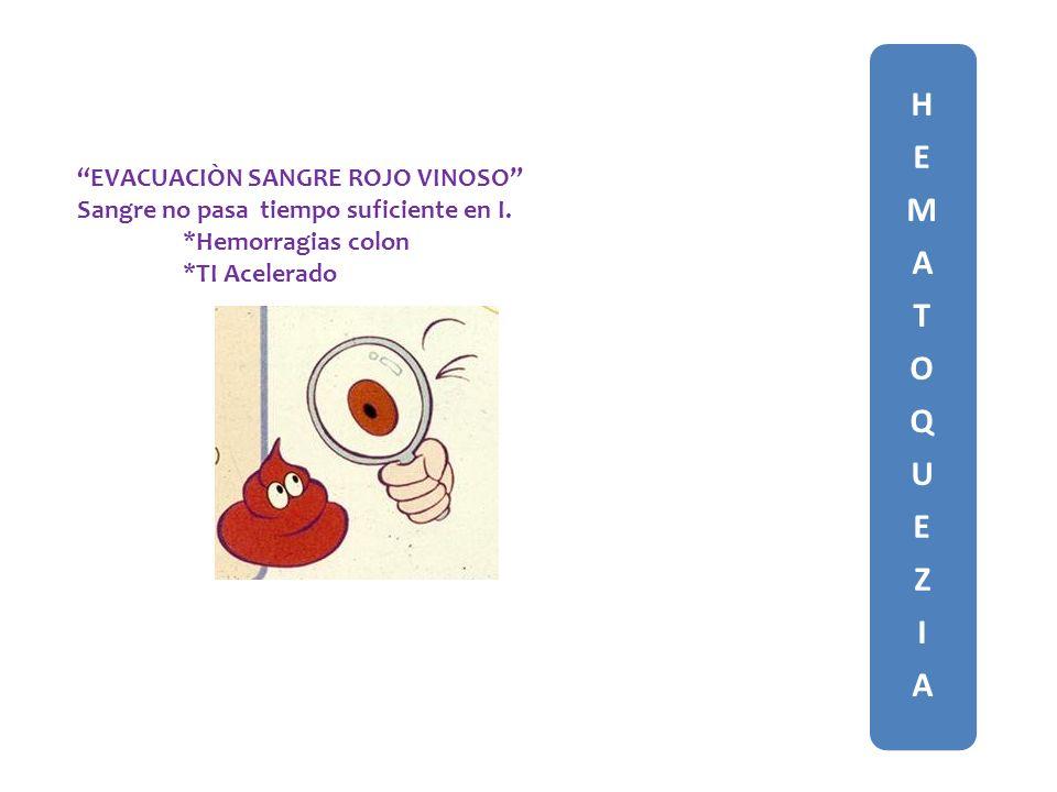 HEMATOQUEZIAHEMATOQUEZIA EVACUACIÒN SANGRE ROJO VINOSO Sangre no pasa tiempo suficiente en I.